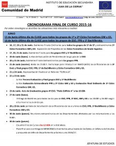 CRONOGRAMA FINAL CURSO 2016